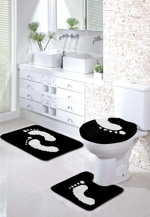 Tapete banheiro pegadas « Julitex Cama Mesa e Banho -> Tapete Banheiro Simples